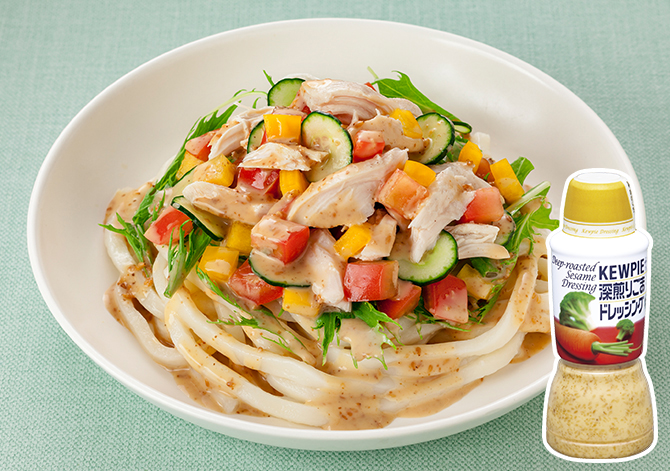 Salad Udon Noodles with Steamed Chicken and Colorful Vegetables