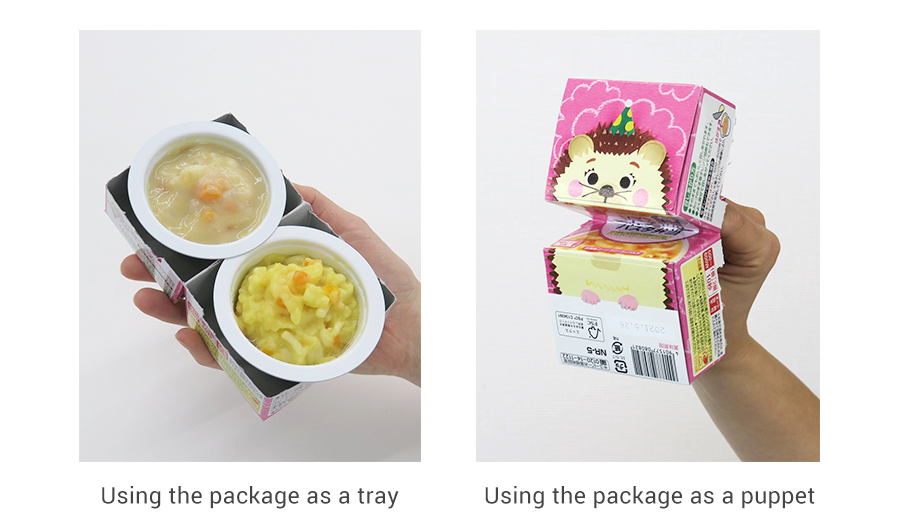 Trays: two cups can be safely held in one hand. Puppet: the animal on the package opens and closes its mouth to encourage babies to chew.